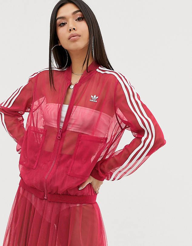 Adidas Originals Sleek Mesh Tulle Track Jacket In Pink In 2019
