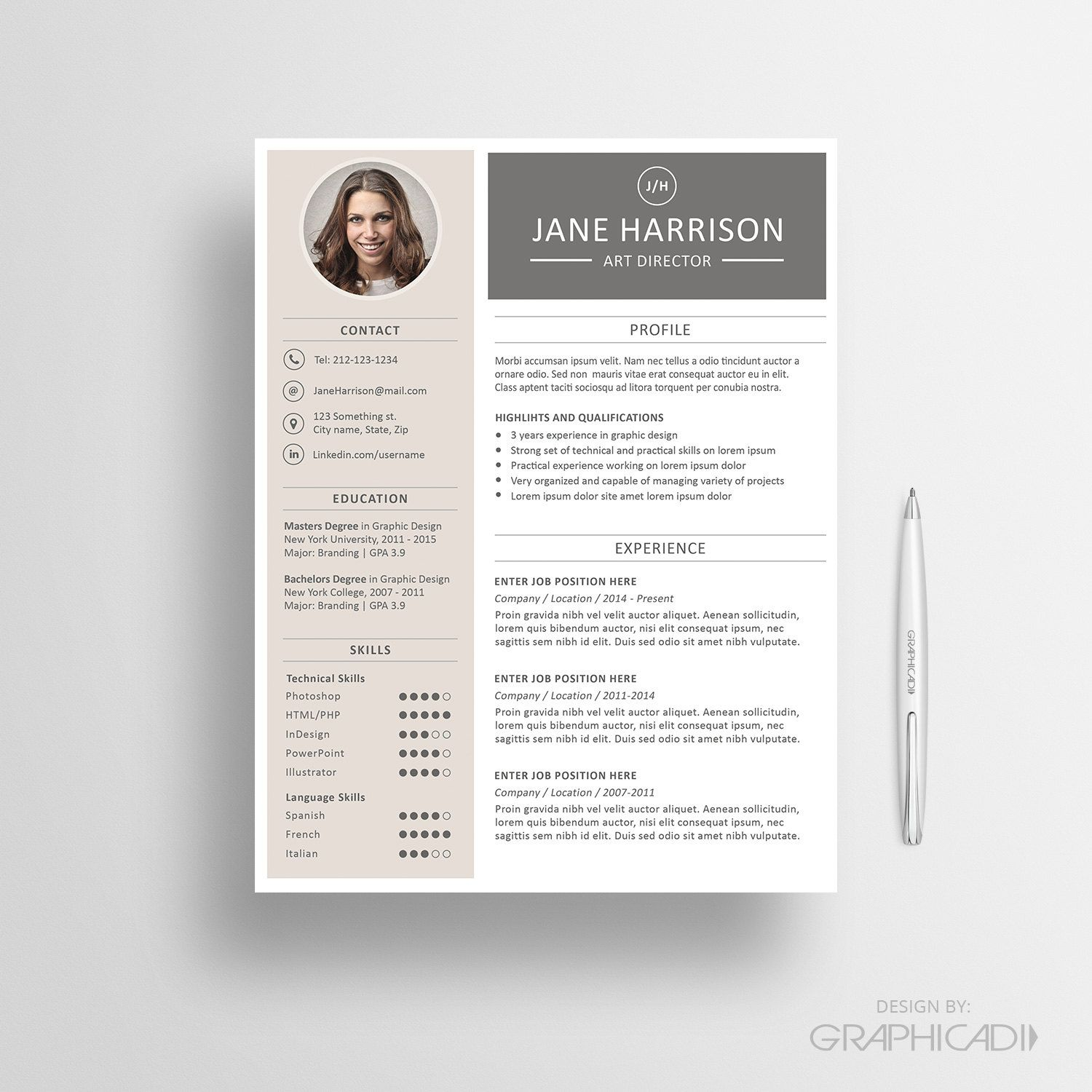 Resume template - CV template and cover letter - Instant Download by ...
