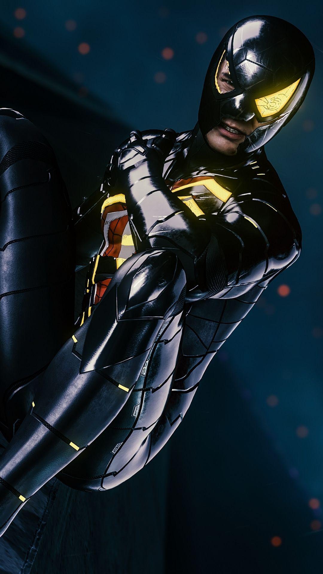 1080x1920 Game, dark suit, Spiderman PS4 wallpaper in