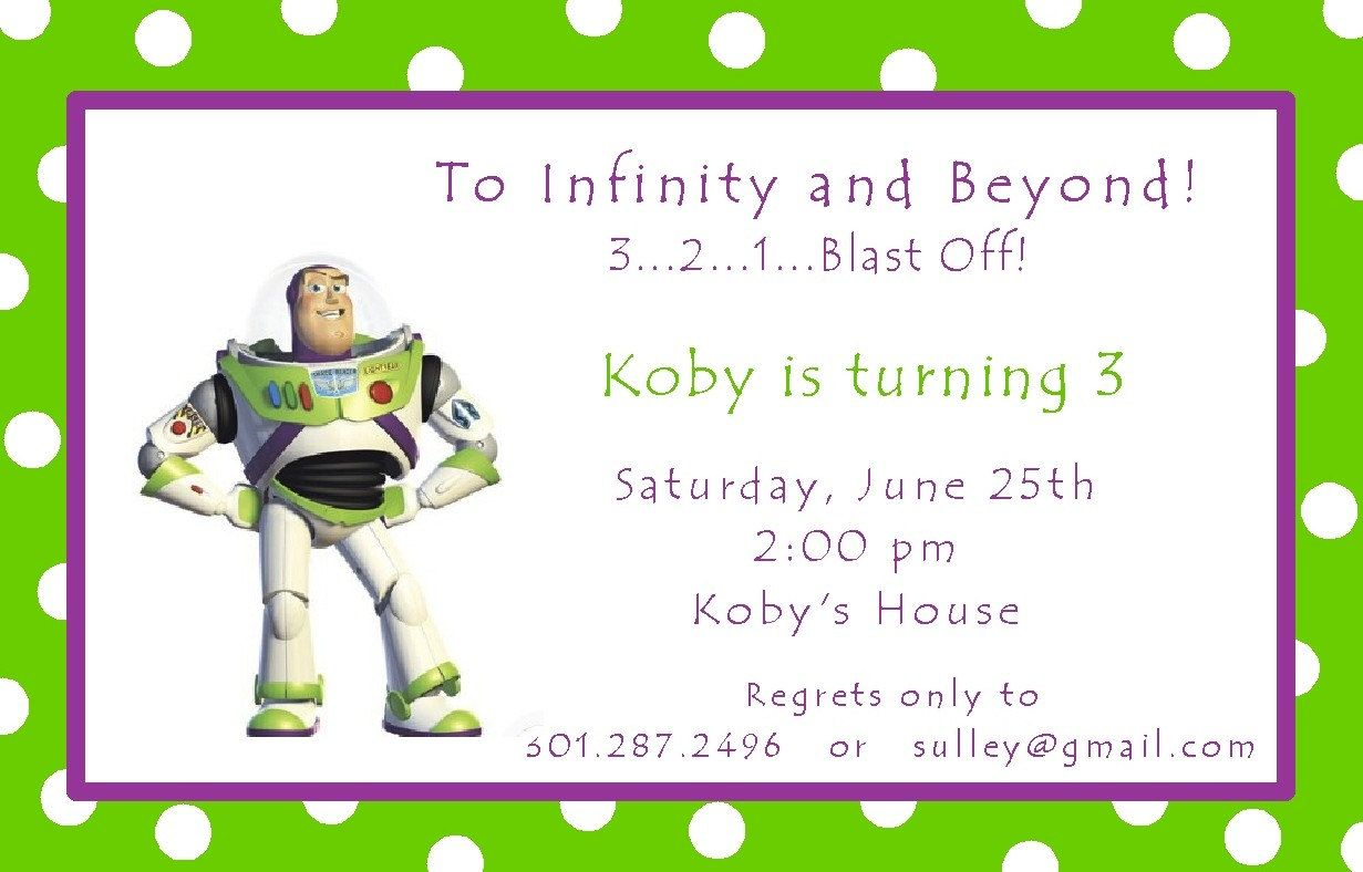 Cute Wording For Buzz Lightyear Invite Party Ideas Pinterest