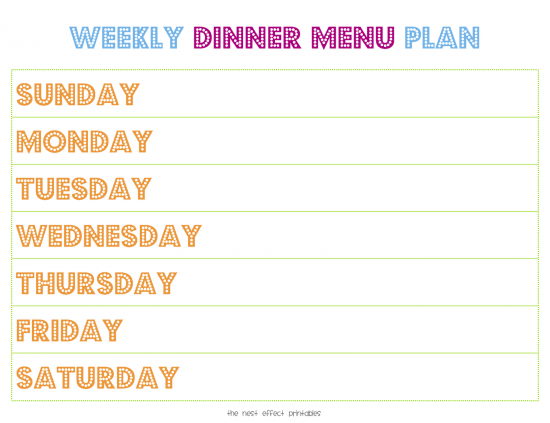 17 Best images about Menu planners including lots of free – Menu for the Week Template