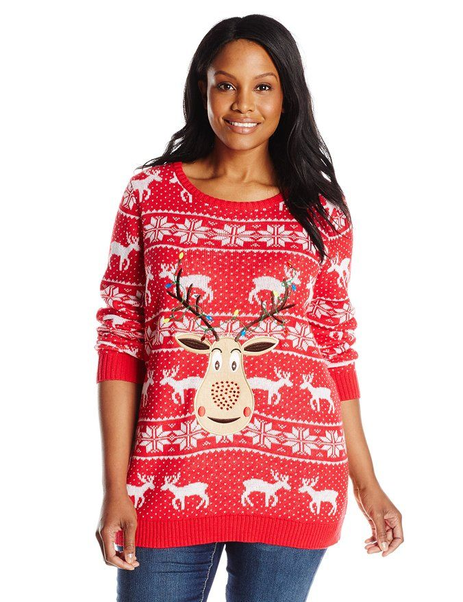 isabella s closet women s plus size sequin rudolph on fair isle ugly christmas sweater red 3x