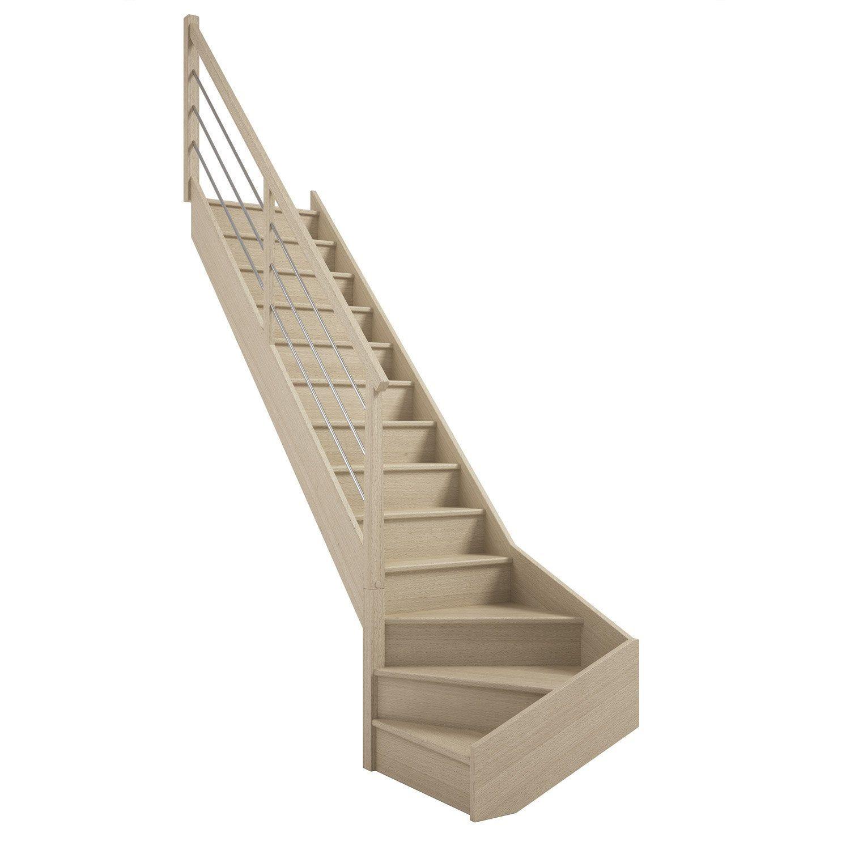 Escalier 1 4 Tournant Bas Gauche Bois Hetre Soft Tubes 13 Marches