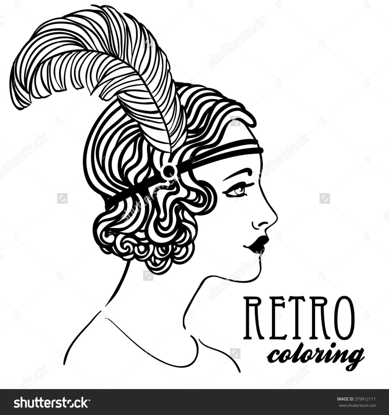Retro Coloring Book For Kids And Adults Retro Women Twenties