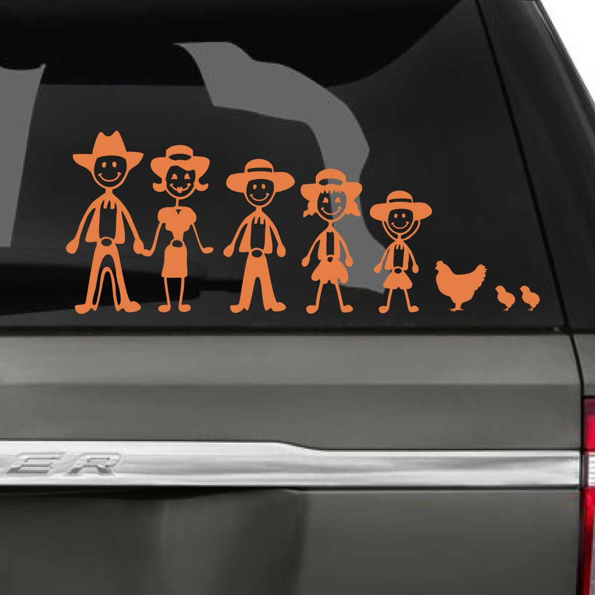 Cowboy Family Car Decal Family Car Decals Family Car Stickers Car Decals [ 1200 x 1200 Pixel ]