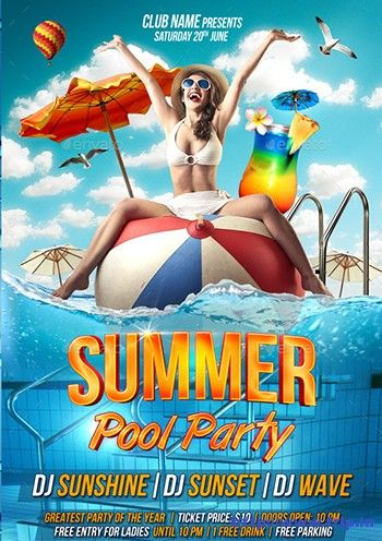 Best Summer Pool Party Flyer Print Templates   Summer Pool
