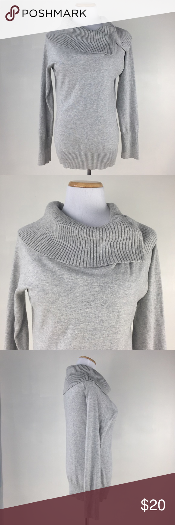 White House black market size M sweater gray This is a size M turtleneck pullover long sleeves sweater by White House black market. Gray color. 3 snaps on the collar. Great shape and excellent condition. White House Black Market Sweaters Cowl & Turtlenecks
