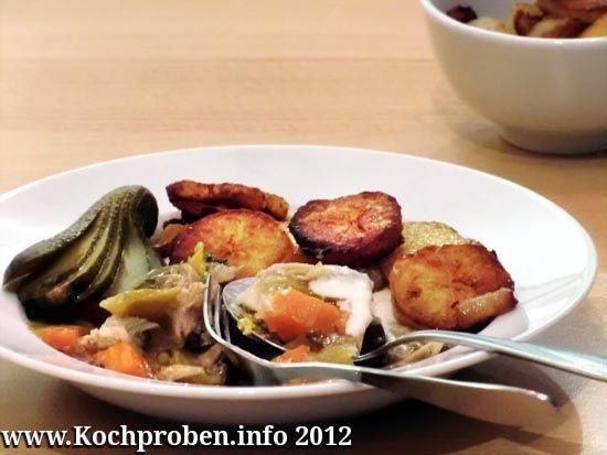 Vier Tage Huhn – Tag 2: Geflügelsülze mit Bratkartoffeln und Meerrettichdip