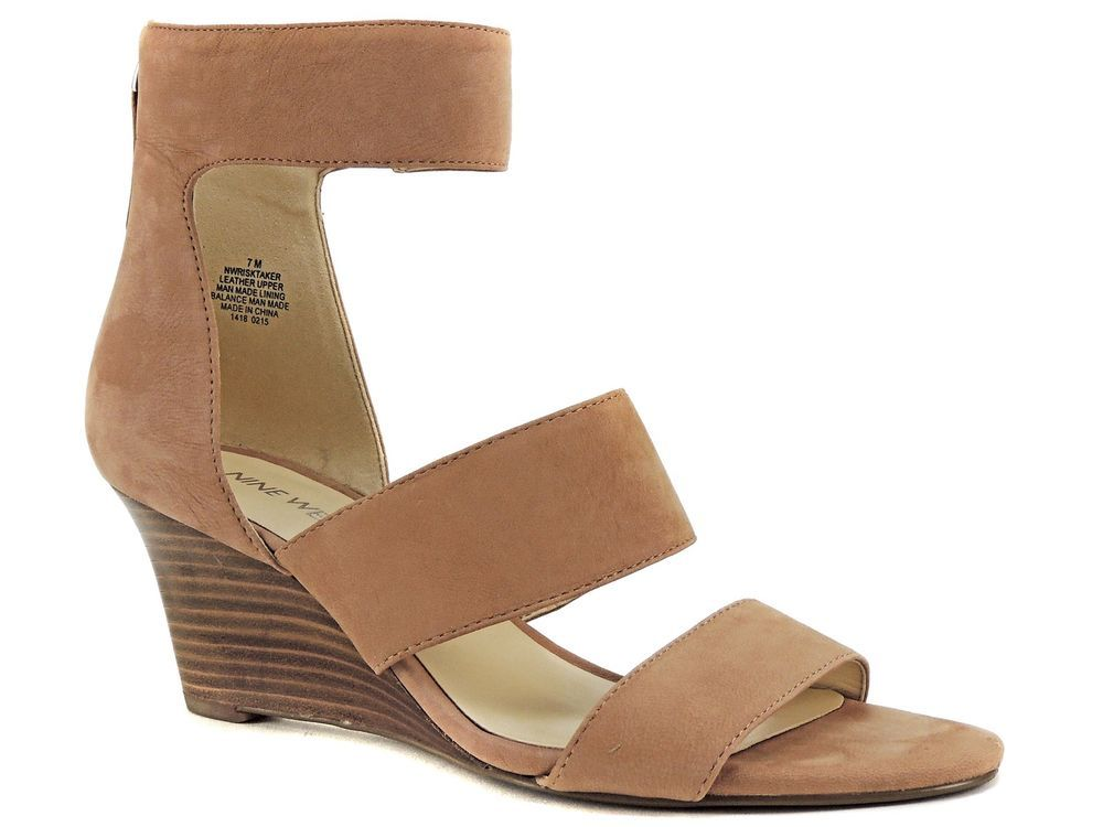 0b937a5d9f1 Nine West Women s Risk Taker Wedge Sandals Natural Nude Leather Size 7 (B