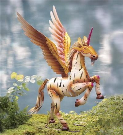 Winged Unicorn Metal Yard Sculpture Fairies Dragons Witches