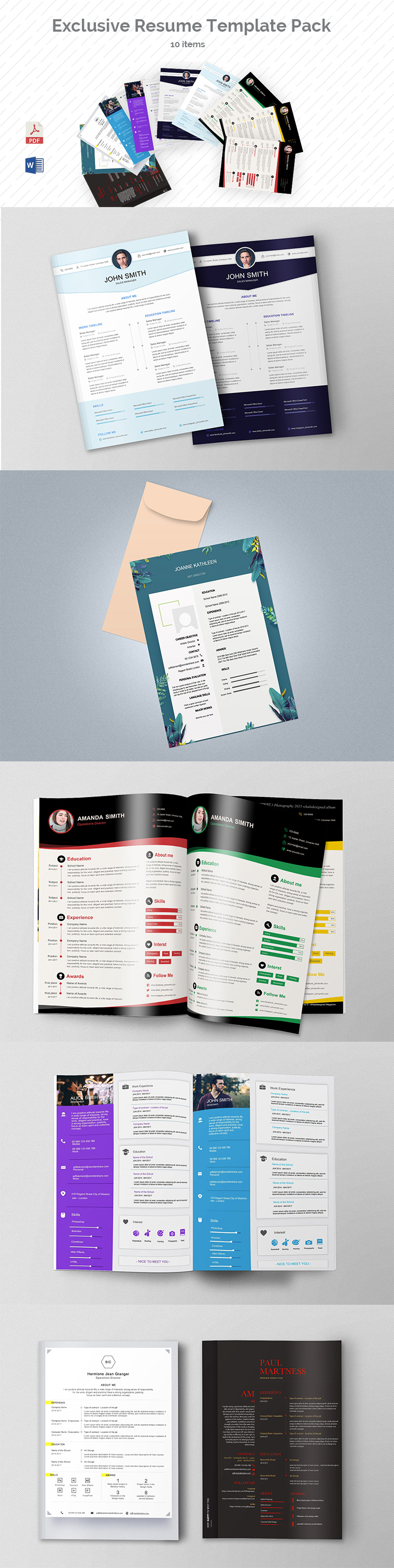Exclusive Resume Template Pack (10 Items) Templates