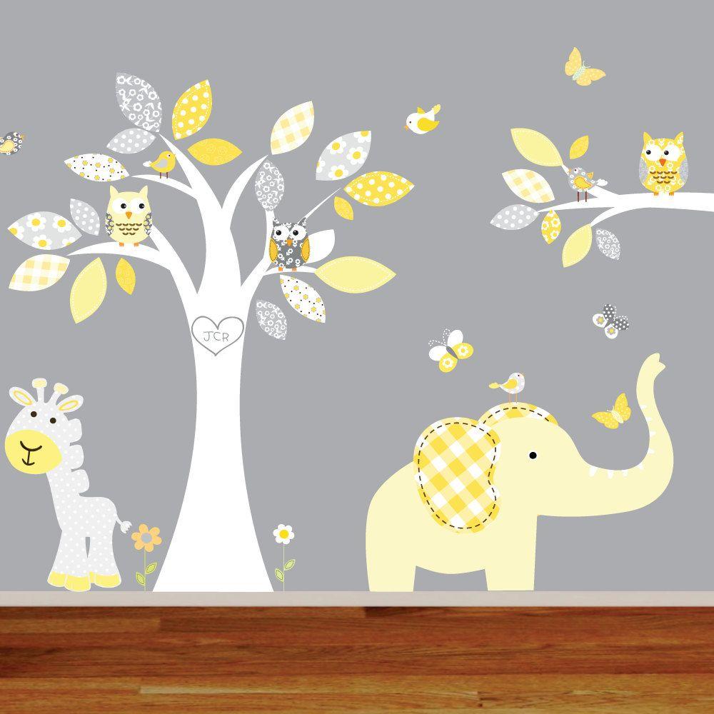 Giraffeelephantmonkey nursery wall decal sticker vinyl tree and giraffeelephantmonkey nursery wall decal sticker vinyl tree and branch jungle decals amipublicfo Images
