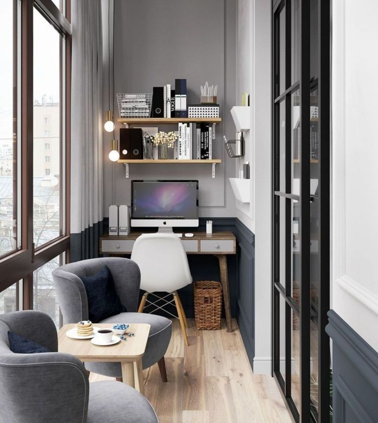 10 Cozy Small Home Office Designs For Work Efficiency In 2020 Modern Home Offices Apartment Balcony Decorating Home Office Decor