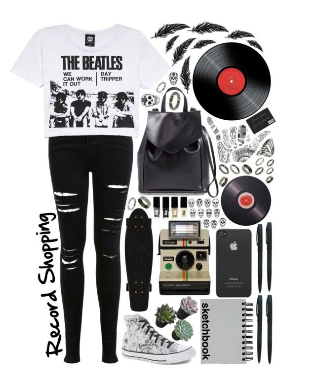"""""""Record Shopping"""" by alexh0526 ❤ liked on Polyvore featuring Loeffler Randall, Miss Selfridge, Forever 21, Converse, Joseph Joseph, ASOS, Paperchase, Incase and JINsoon"""