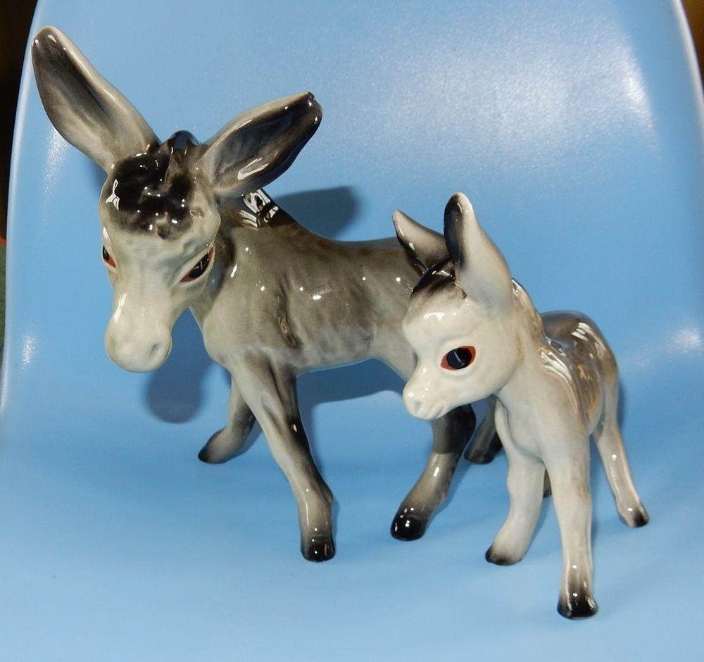 Donkey ornaments - Beautiful China Vintage Donkey And Her Donkey Foal Ornament Figurine