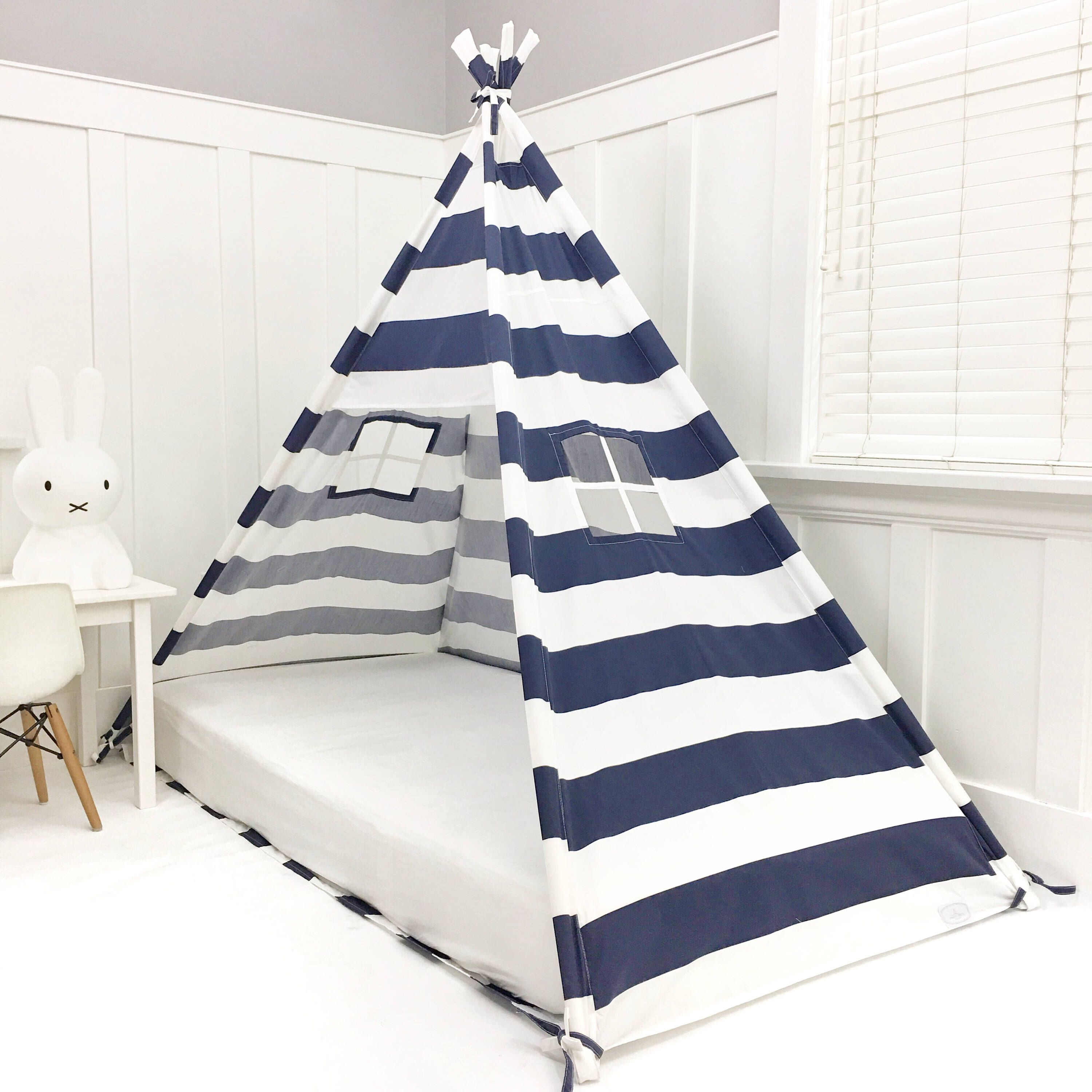 Play Tent Canopy Bed in Navy Blue and White Stripe Twin
