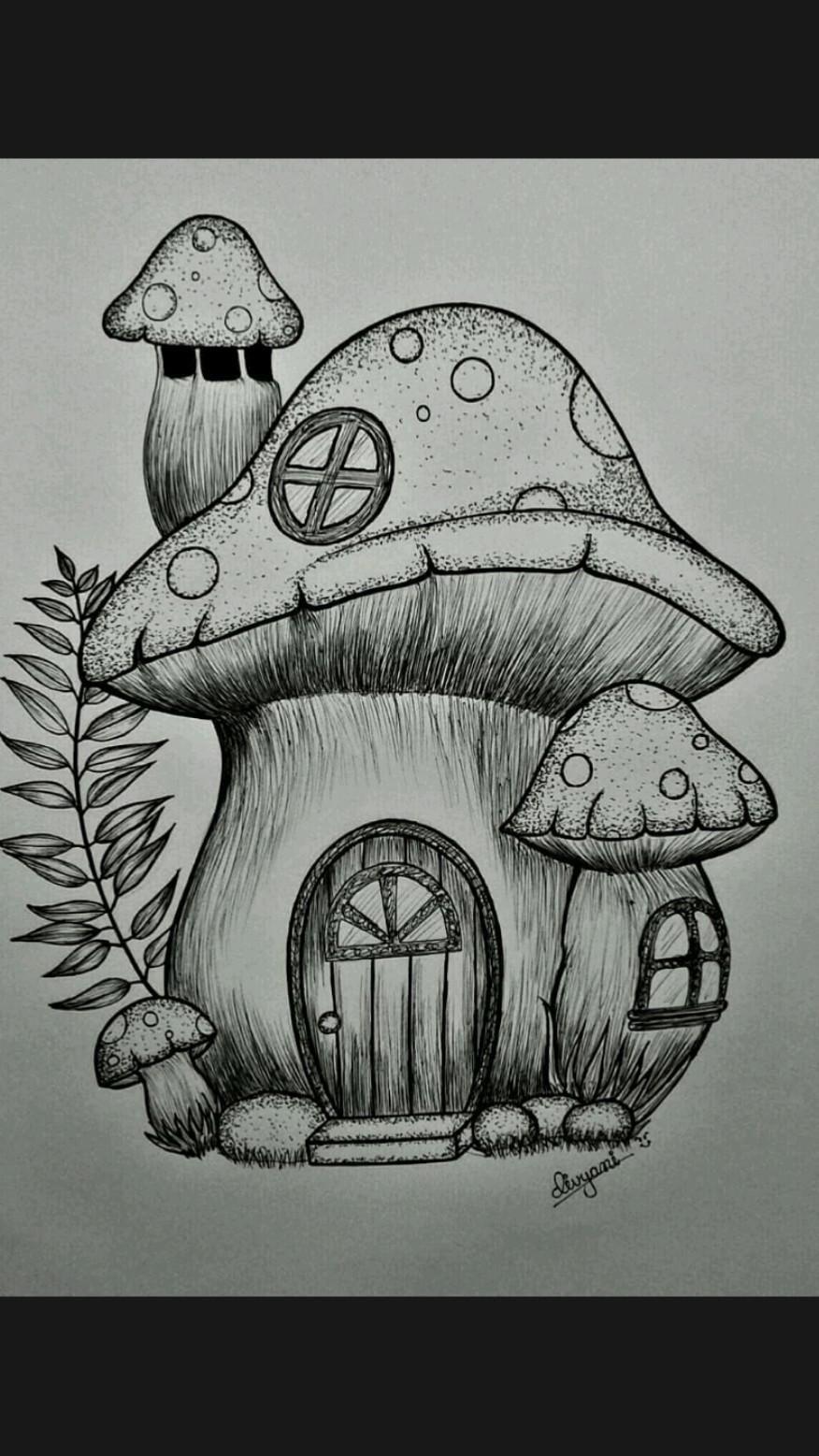 pen art | mushroom house | pen drawing