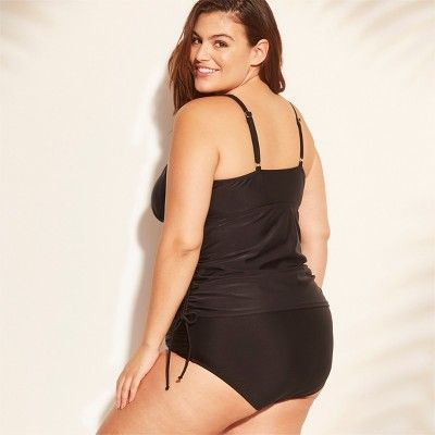 f498dacf5583a Women s Plus Size Adjustable Side High Neck Tankini - Kona Sol Black ...