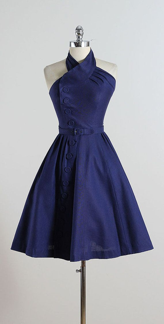 CAPTAIN TWIST ➳ vintage 1950s dress * mid weight navy cotton linen * offset covered button details * original matching belt * twisted halter strap * bodice