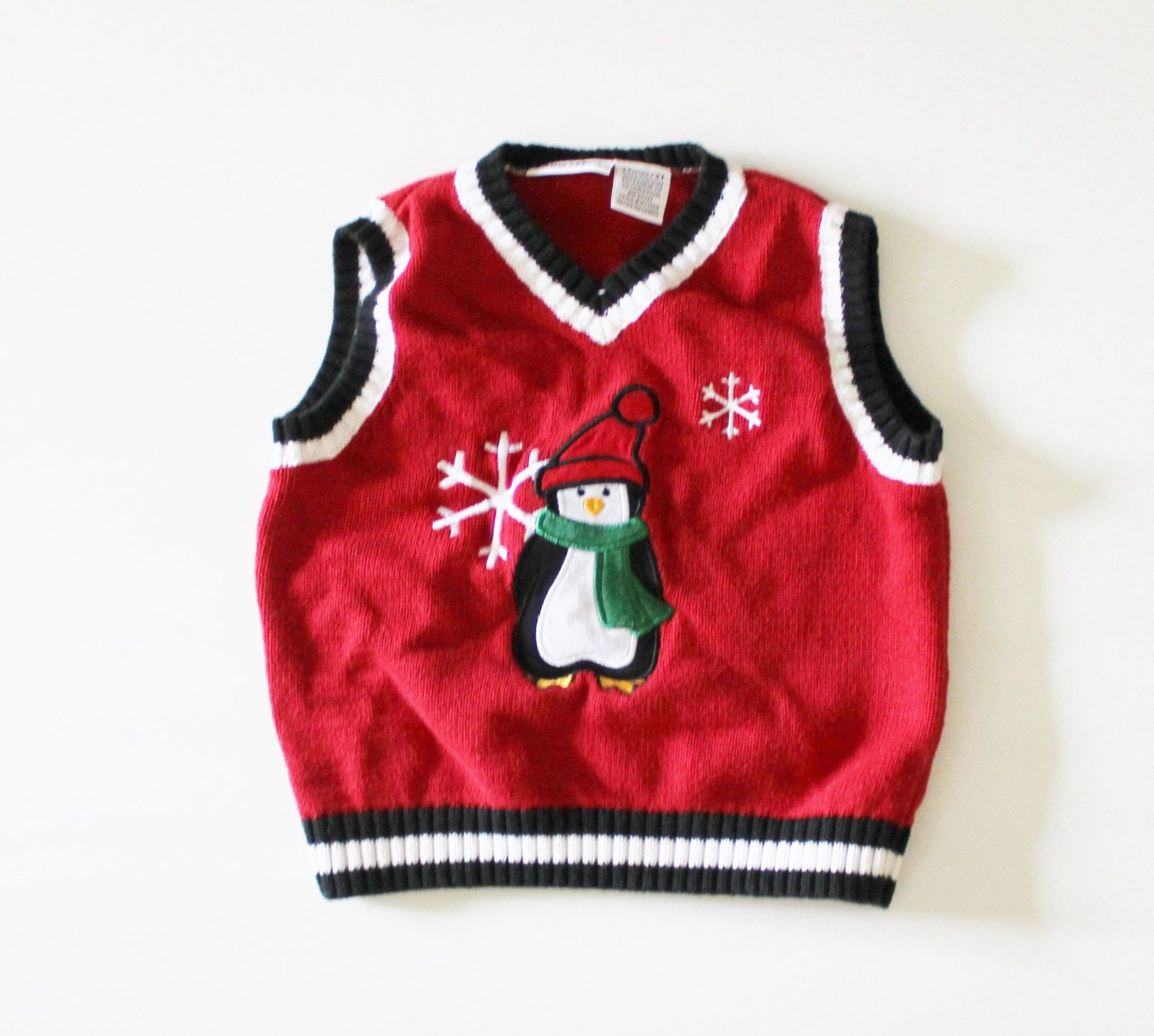 Vintage 90s Pengiun and Snowflakes Red Sweater Vest - Ugly ...