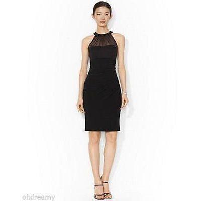 Lauren Ralph Beaded Jersey Dress Black 6