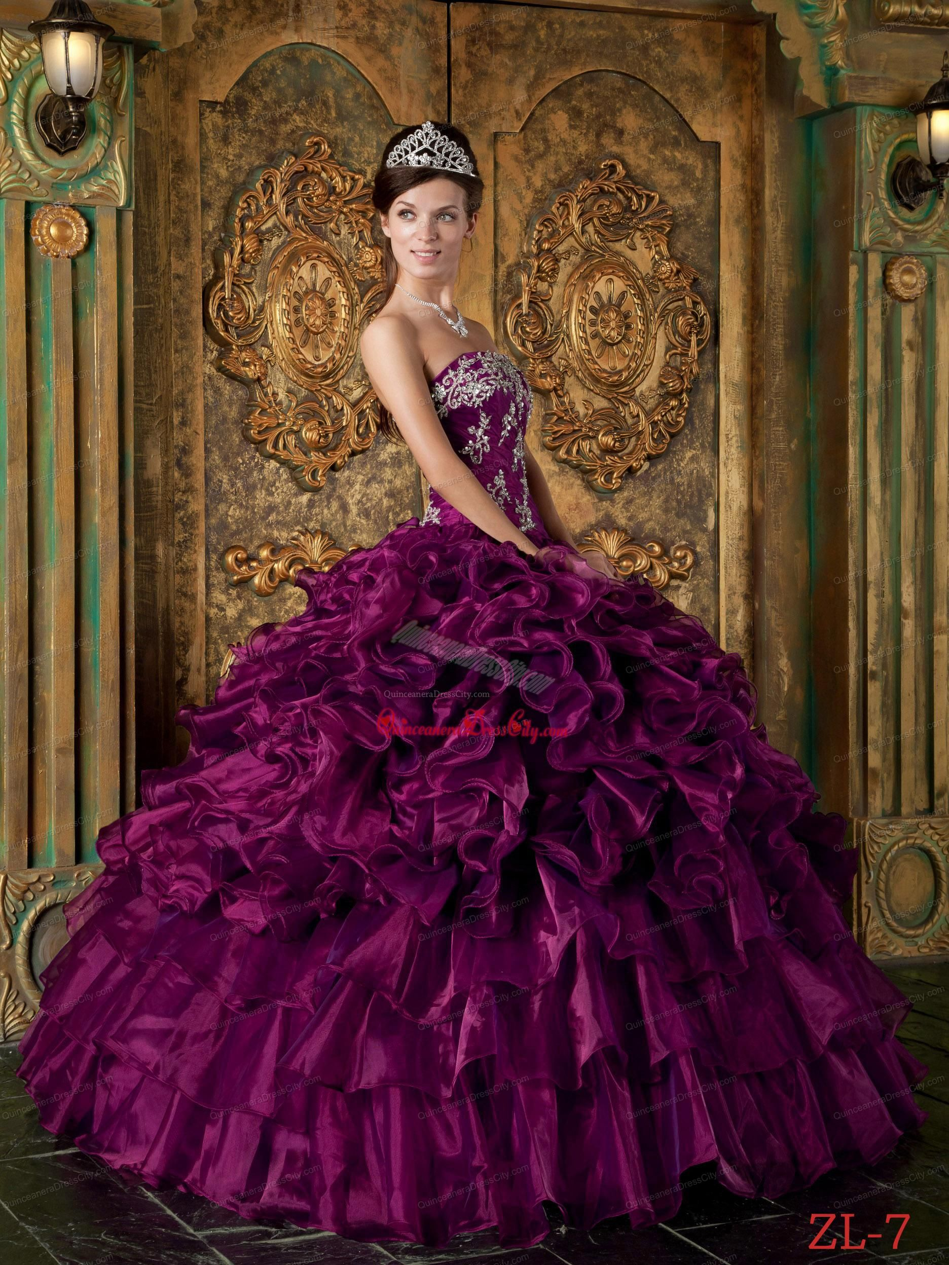 def6d14025b This color! Eggplant Purple Ball Gown Strapless Floor-length Organza  Ruffles Quinceanera Dress.