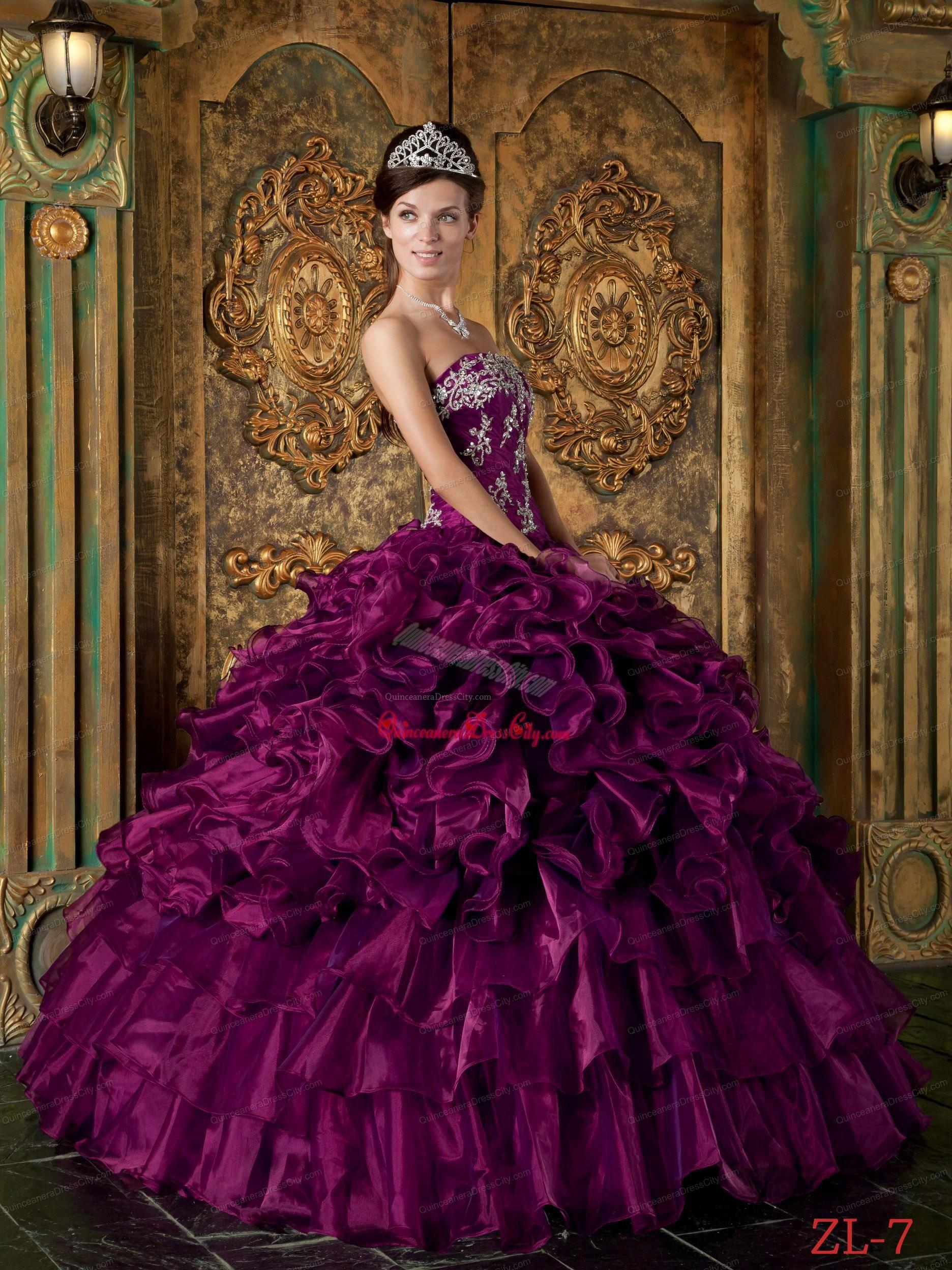 Eggplant Purple Ball Gown Strapless Floor-length Organza Ruffles Quinceanera  Dress. 5cb874c015a6