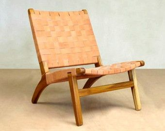 Mid Century Modern Armchair, Accent Chair, Lounge Chair, Teak, Handmade,  Barley Leather, beige, Living room, Retro, mad men