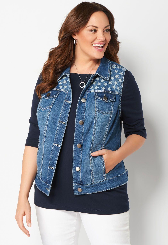 ca2a88d8ece Star Printed Bling Plus Size Denim Vest