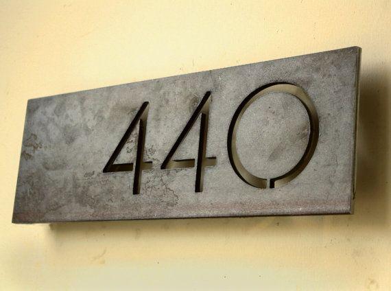 Modern Offset Steel House Number Plaque