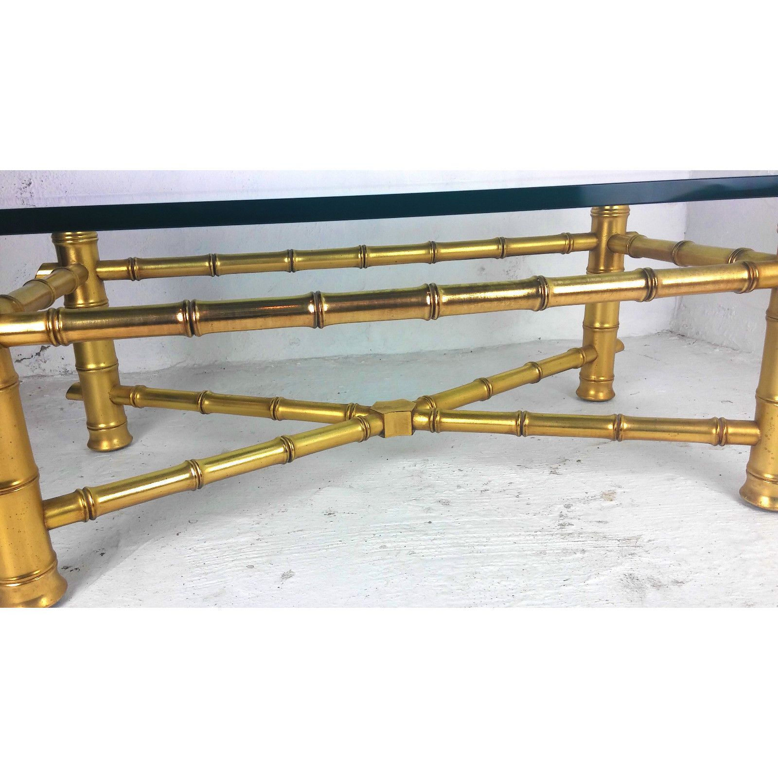Hollywood Regency Mid Century Gold Leaf Faux Bamboo Coffee Table With Glass Top Glass Top Coffee Table Bamboo Coffee Table Square Glass Coffee Table [ 1600 x 1600 Pixel ]