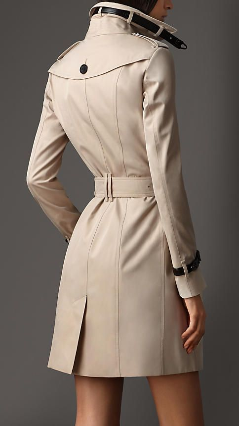 Trench Coats for Women - Long Leather Detail Gabardine Trench Coat    Burberry 8ecc5bc90d02