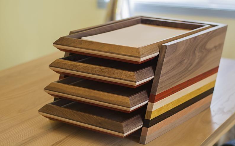 4 Tier Desk Organizer Tray Document Tray Wood Paper Tray Etsy In 2020 Desk Organizer Tray Paper Organization Desk Organization