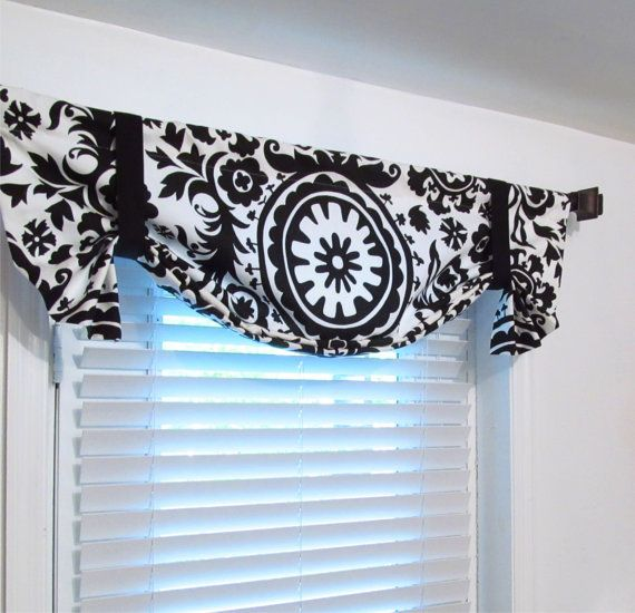 Suzani Black White Tie Up Curtain Valance By