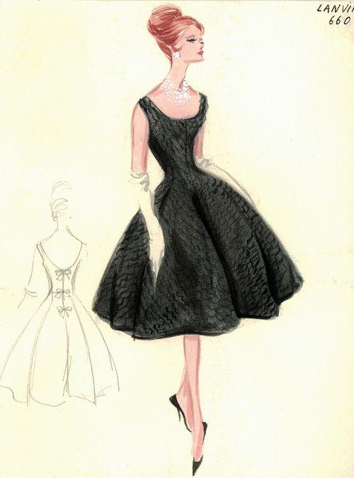 Cocktail Dress Sketch By Lanvin For Bergdorf Goodman 1960s Art Illustration Design
