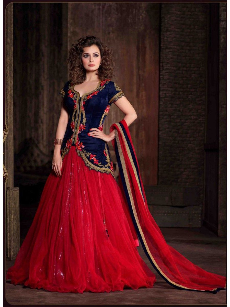 Diya mirza jacket lehenga suit in blue red colour asian diya mirza jacket lehenga suit in blue red colour ombrellifo Image collections