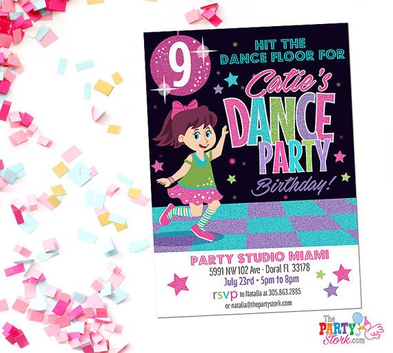 Dance Party Invitation Printable Birthday by thepartystork on Etsy