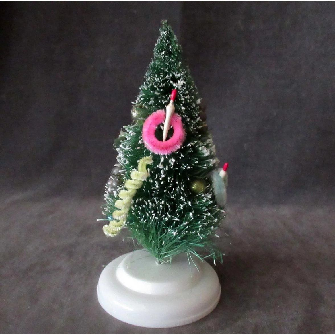 Vintage 6 Bottle Brush Christmas Tree With Ornaments Flocked Tips Bottle Brush Christmas Trees Christmas Tree Ornaments Christmas Bulbs