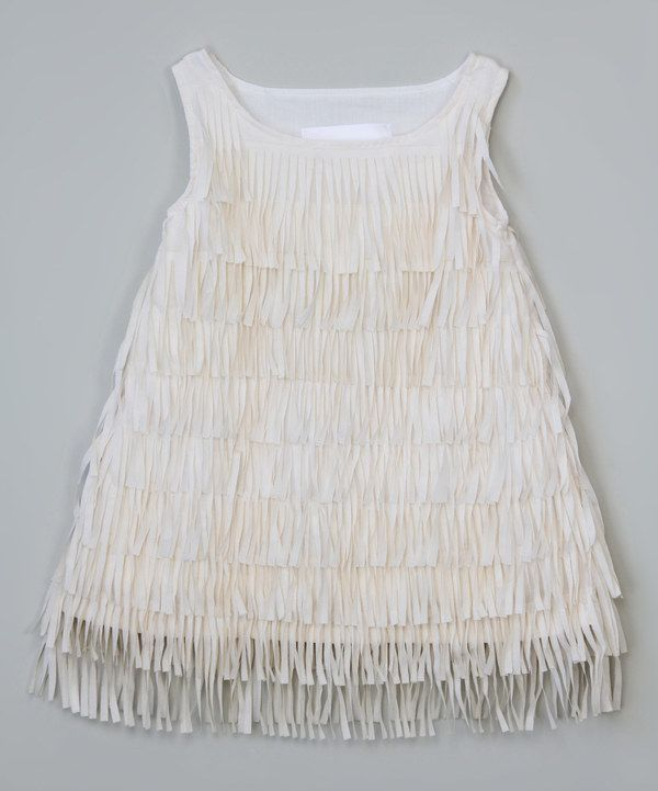69a9cc2223 Look at this White Delicate Fringe Dress - Toddler   Girls on  zulily today!