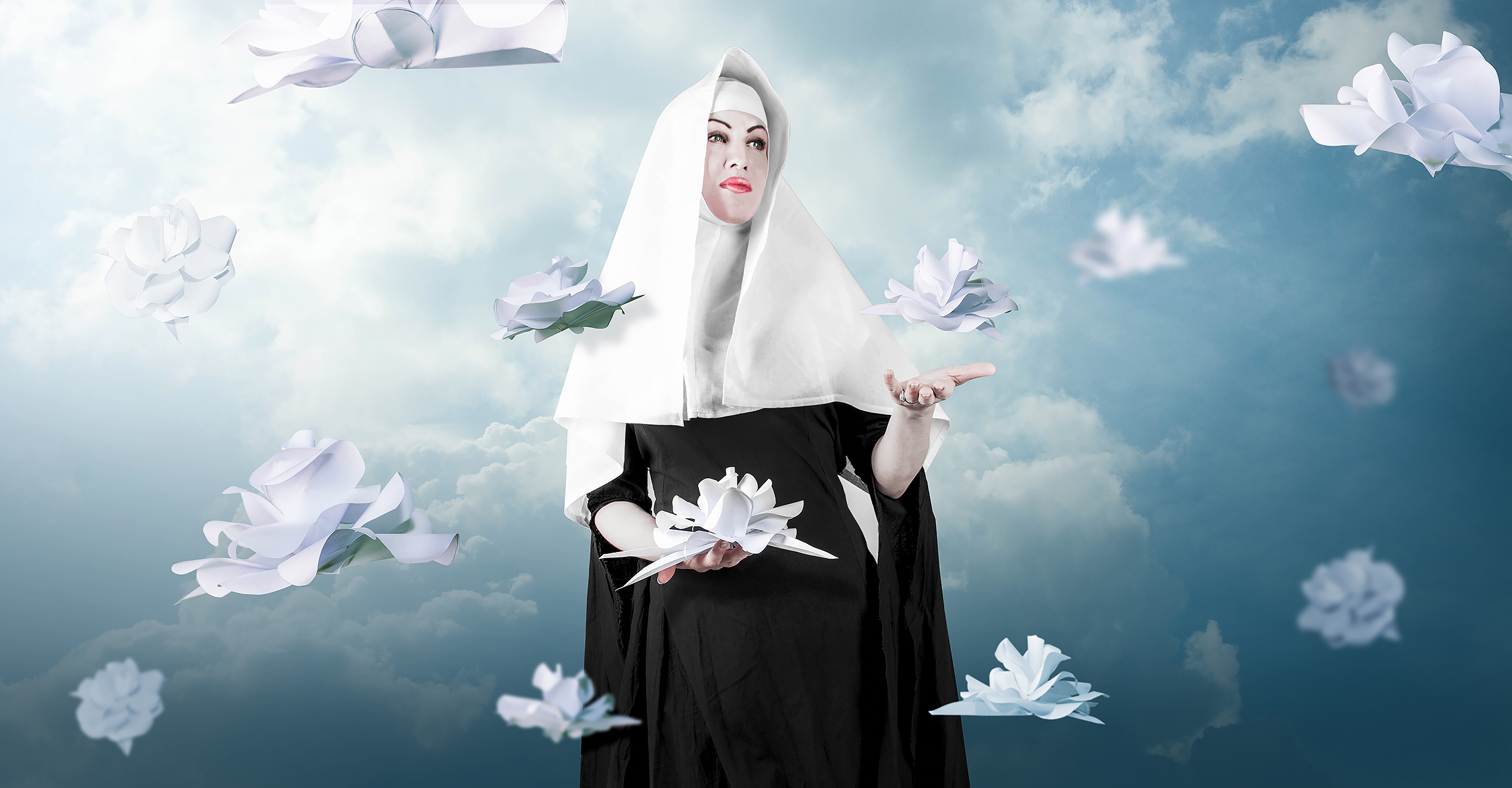 Nun with white floating magnolia