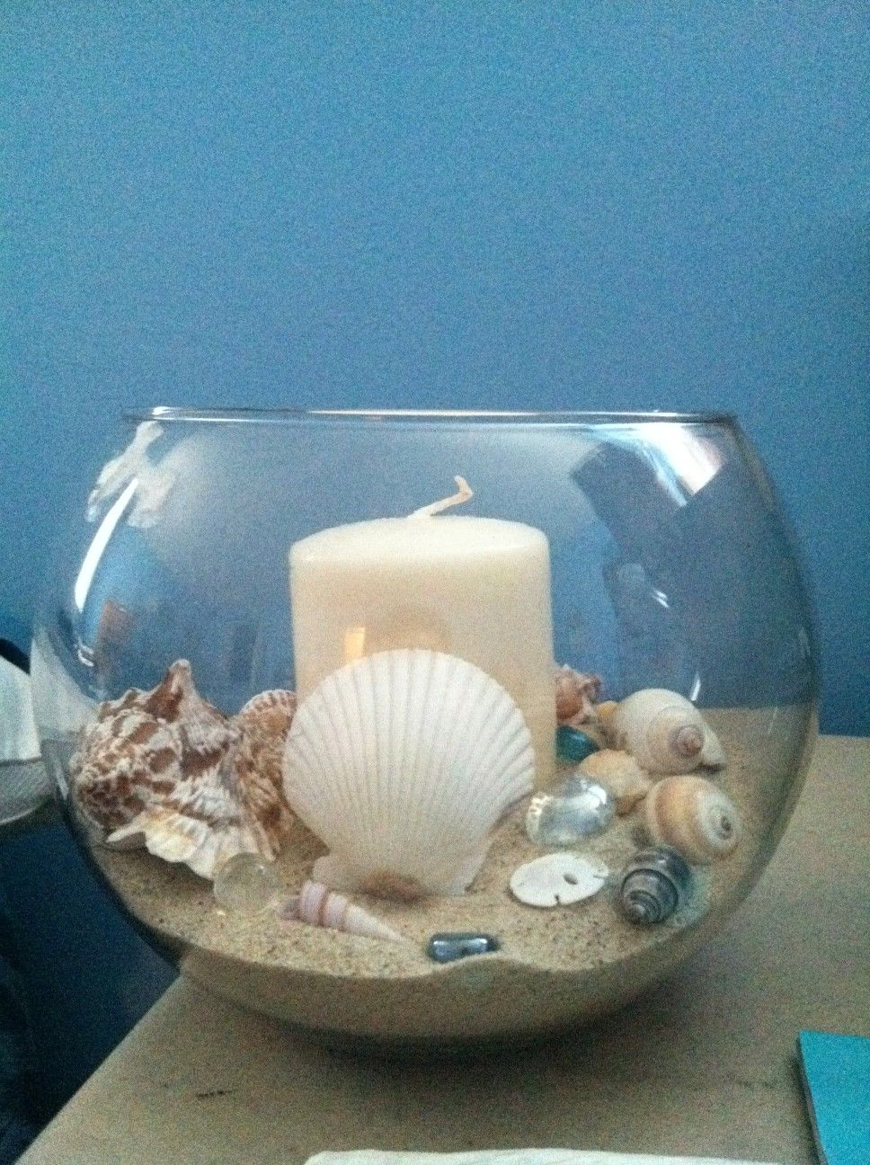 Beachy centerpiece that i made for my wedding each table