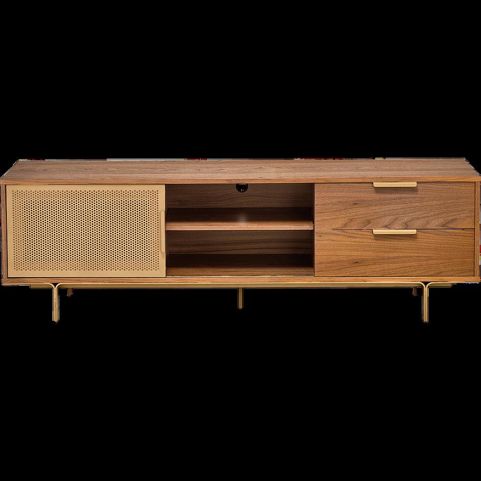 Meuble Tv Plaque Noyer Et Dore L180cm Ringo Meubles Tv Alinea Furniture Living Room Decor Modern Decor