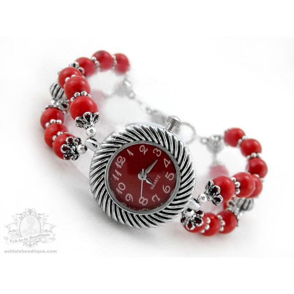Red bracelet watch, red wrist watch, adjustable watch, howlite watch,... (£16) ❤ liked on Polyvore featuring jewelry, watches, beaded jewelry, red wrist watch, red watches, adjustable bracelet and gem jewelry