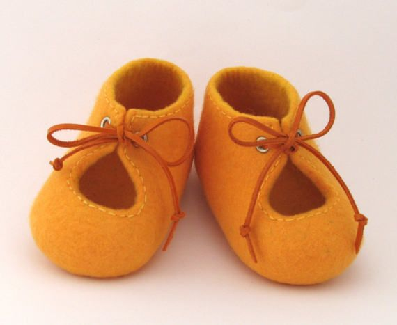 1833f51d7864a Baby shoes, Yellow felted baby shoes with leather laces, Baby photo ...