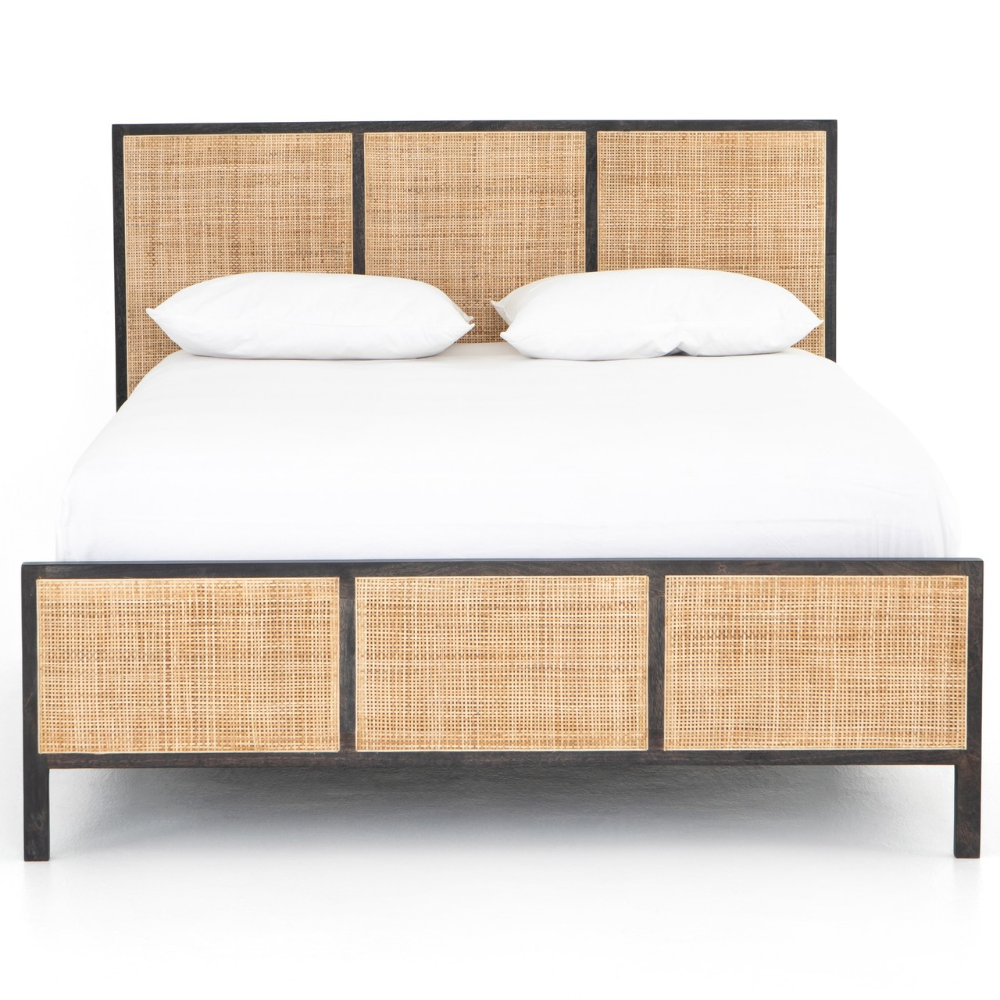 Sydney Woven Cane Queen Platform Bed Black in 2020 (With