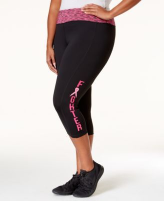 Ideology Plus Size Pink Ribbon Cropped Leggings, Only at Macy's