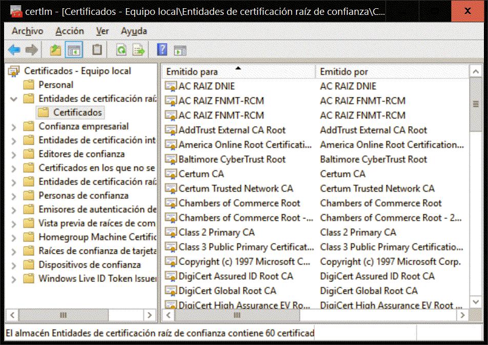 El almacén de certificados de Windows 10