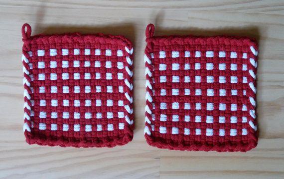 Pair of Red and White Windows Woven Cotton Loop Loom Potholder Vintage Farmhouse Farm Kitchen Loft