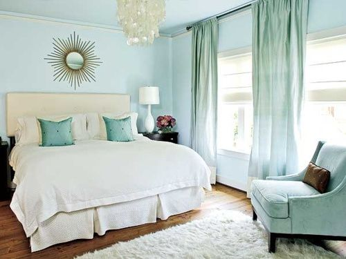 Teal And White Bedroom Fascinating The Robins Egg Blue Walls Teal Draperies Toss Cushions And Arm Design Ideas
