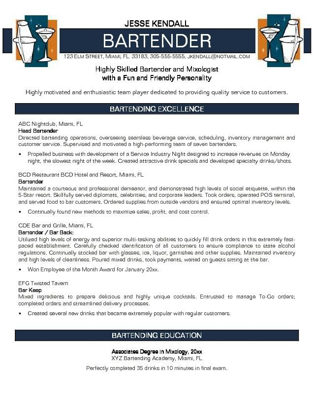 Bartender Objectives Resume  Resume  Cover Letters